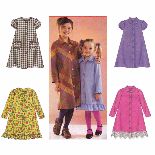 McCalls 4155 Sewing Pattern - Girls A-Line Dresses