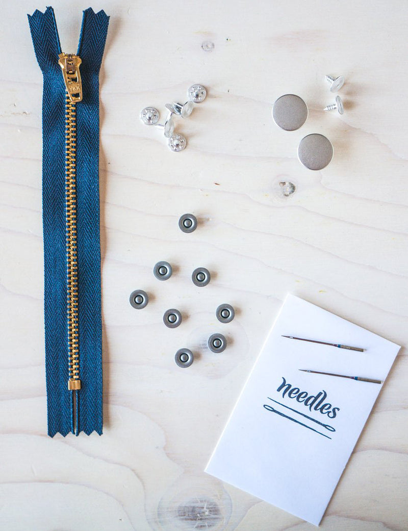 Denim Jeans Hardware Kit - Zipper Fly