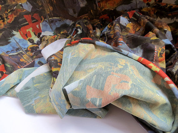 Vintage Fabric. Flocked Painterly Scene Fabric.