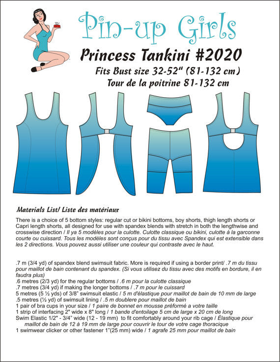 Pin Up Girls Princess Tankini Sewing Pattern