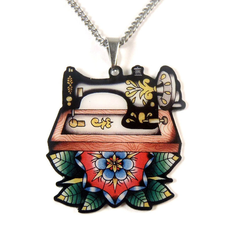 Sew Lovely Vintage Sewing Machine Pendant Necklace
