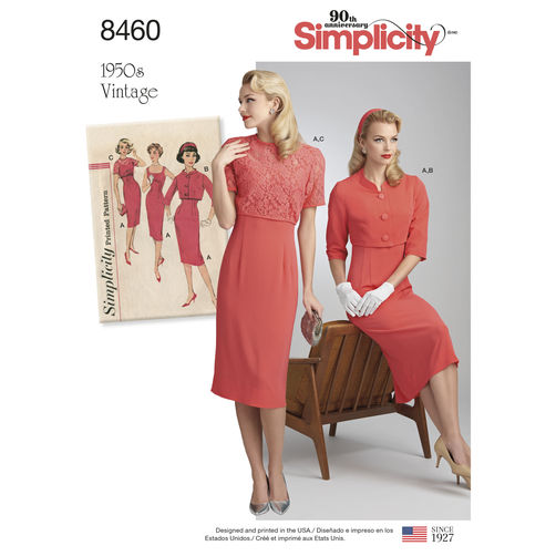 Simplicity 8460 Vintage Dress and Jacket - 1950s Paper Sewing Pattern