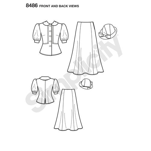 Simplicity 8486 1930s Snow White Dress and Hat Paper Sewing Pattern