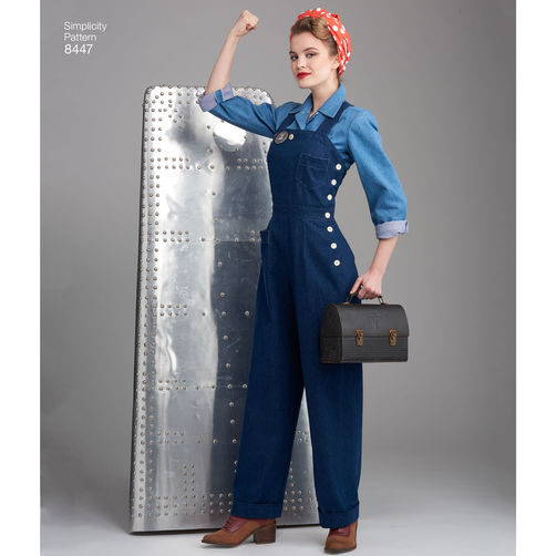 Simplicity 8447 Rosie the Riveter Overalls, Pants, and Blouses - 1940s Paper Sewing Pattern