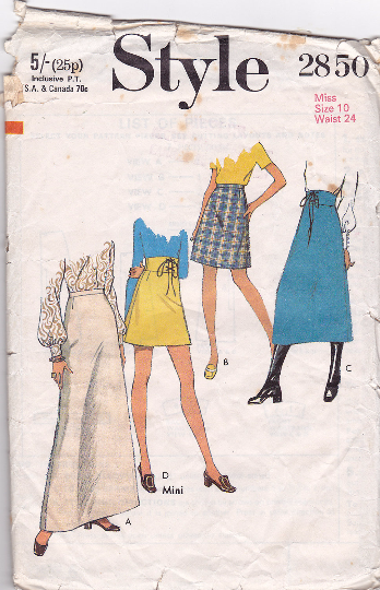 Style 2850 Vintage Sewing Pattern - 4 Skirts with Laced Waist