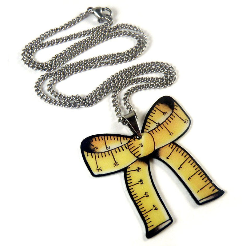 Tape Measure Bow Pendant Necklace