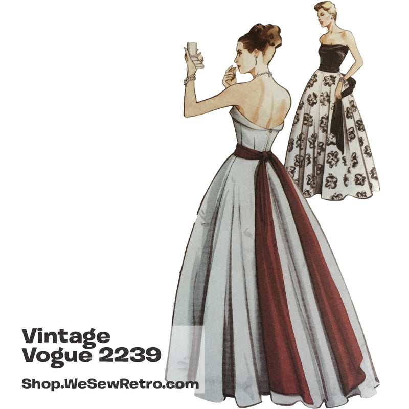 Vintage Vogue 2239 1950s Evening Gown Sewing Pattern