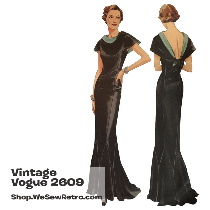 Vintage Vogue 2609 1930s Evening Gown Sewing Pattern