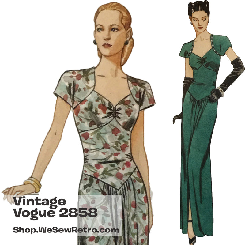 Vintage Vogue 2858 1940s Misses Dress Sewing Pattern