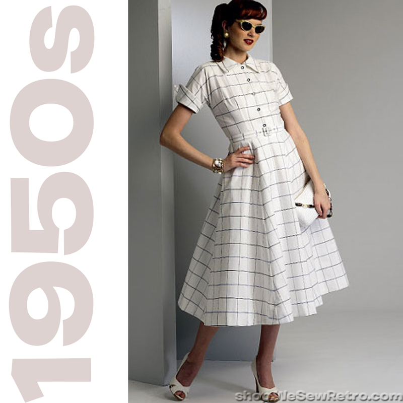 1950s Vintage Vogue 9000: Dress and Belt Vintage Reproduction Sewing Pattern