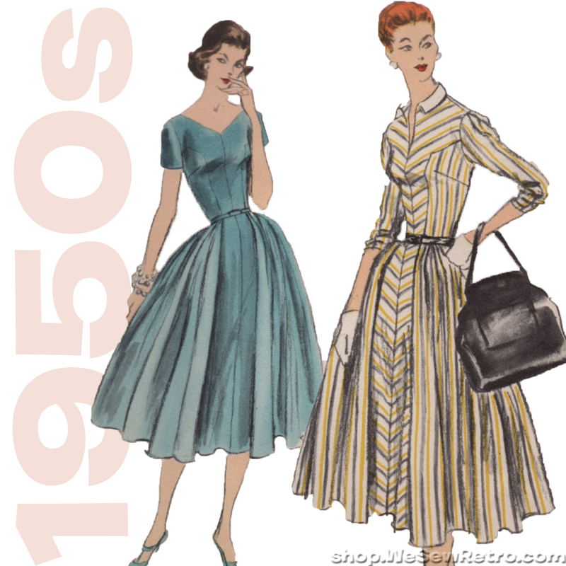 Vogue  8922 - 1950s Vintage Pattern - Full Skirted Dress Sewing Pattern