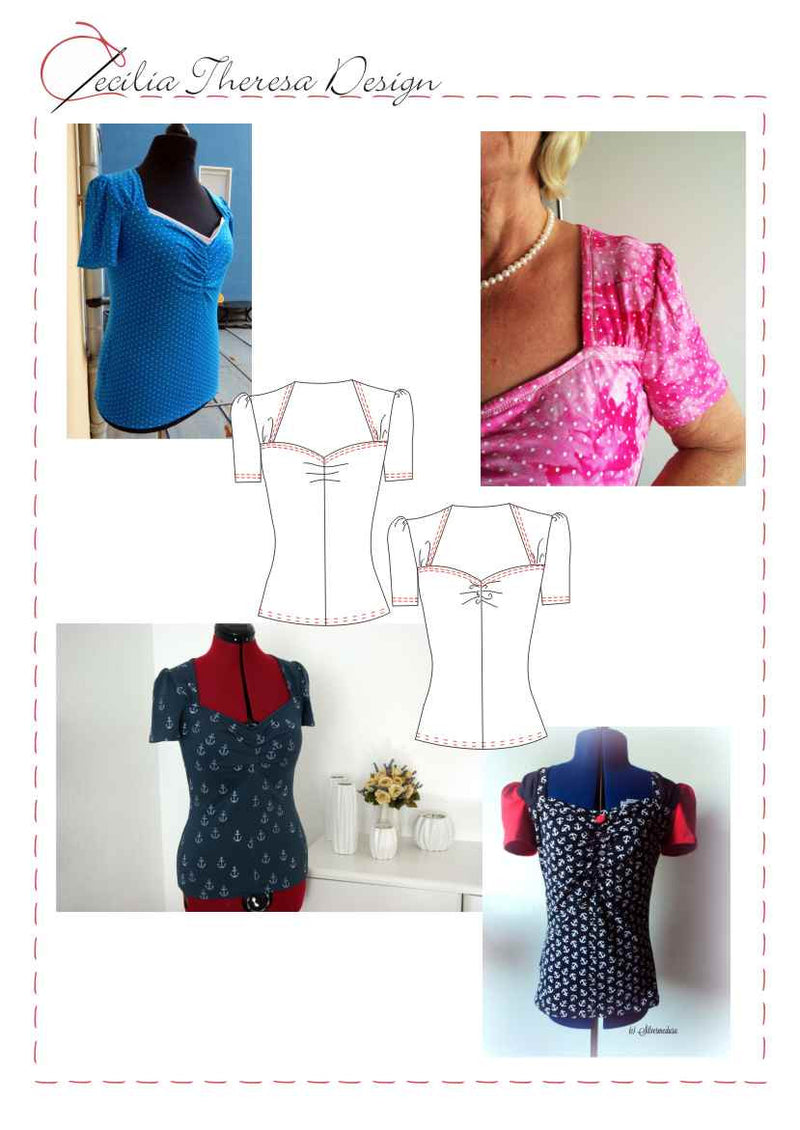 Boogie Retro Shirt PDF Pattern - Stretch Knit Top Sewing Pattern