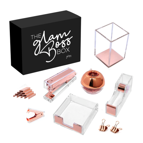#TheGlamBossBox Rose Gold Stationary Desk Set - LIMITED EDITION (PRE-ORDER ONLY), Acrylic Stationary - Glam & Co