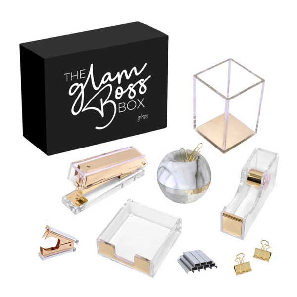 #TheGlamBossBox Gold Stationary Desk Set - LIMITED EDITION (PRE-ORDER ONLY), Acrylic Stationary - Glam & Co