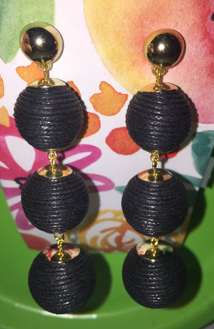 Black Drop Ball Earrings