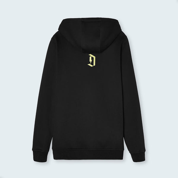 "Duel Hoodie 4d black rear with ""D"""