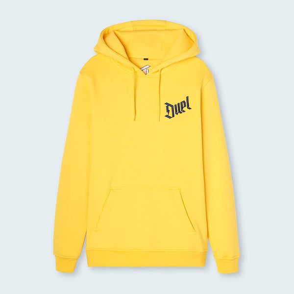 Duel Hoodie 4d Yellow front with Yellow Logo
