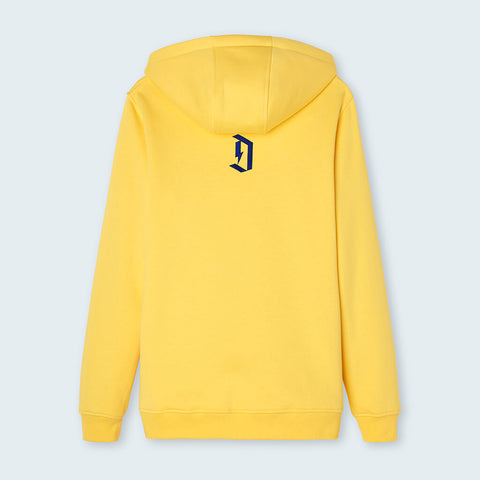 "Duel Hoodie 4d Yellow rear with ""D"""
