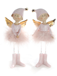 Angel Pink Standing 21cm with Gold Wings and Feathered Skirt