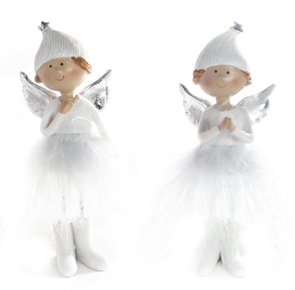 Angel White Standing - Silver Wings and Feather Skirt 10cm