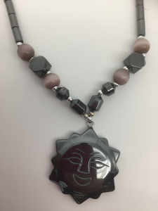 Hematite Sun Pendant/Necklace
