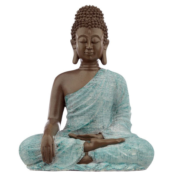 Large Thai Buddha, Brown, White and Turquoise - Love