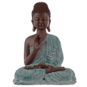 Large Thai Buddha Brown, White and Turquoise - Enlightenment