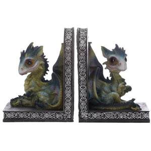 Cute Green Baby Dragon BookEnds