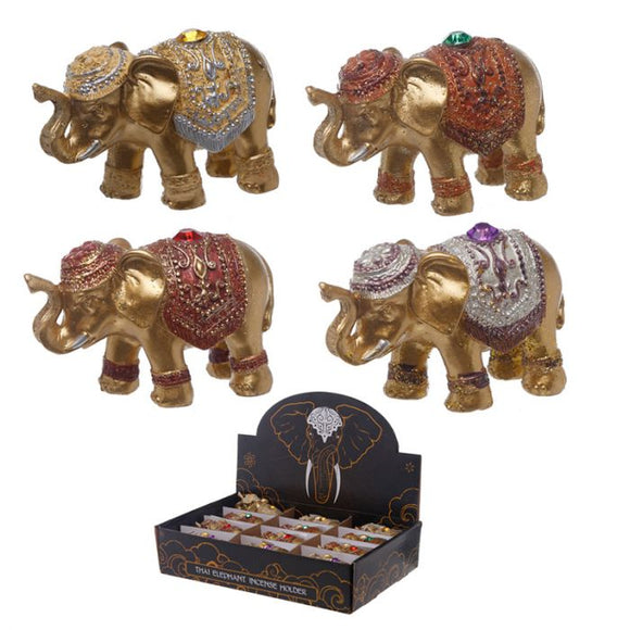Metallic Glitter Lucky Elephant Incense Stick Holder