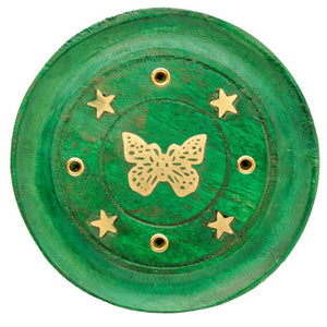 Mango Wood Butterfly Round Green Incense Ash-Catcher