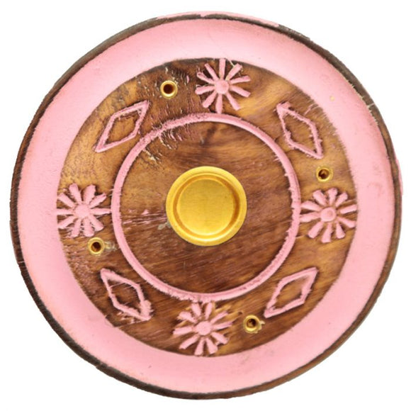 Mango Wood Round Pink Flower  Incense Ash-Catcher