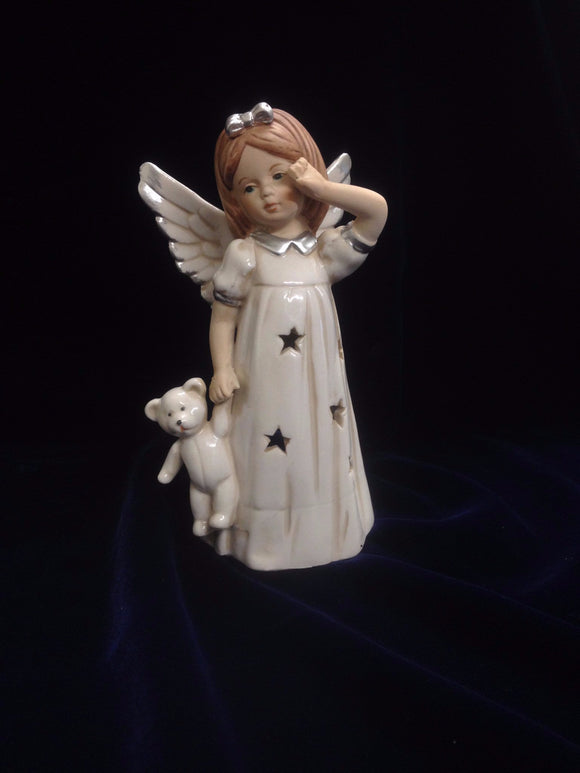 Angel  T-light holder holding a teddy bear