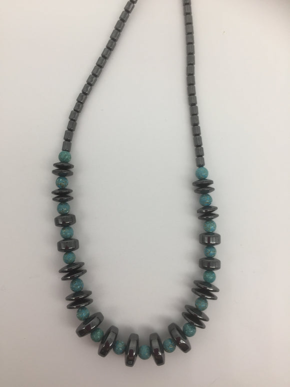 Hematite and Turquoise Coloured Bead Necklace