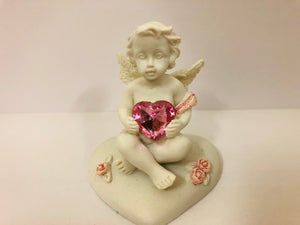 Pink Heart Cherubs Figurine Sitting