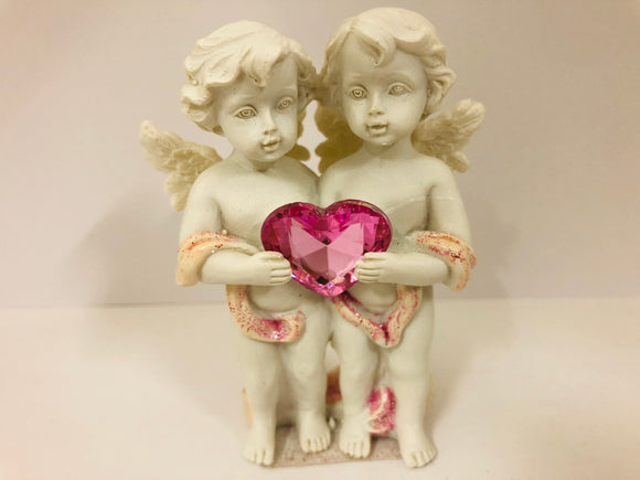 Pink Heart Cherubs Figurine