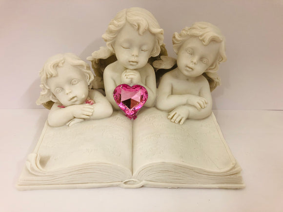 Pink Heart Cherubs Figurine Book