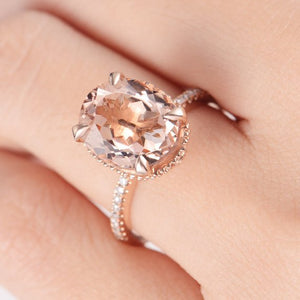 18K Gold Oval Cut Art Deco 9x11mm Morganite Engagement Ring