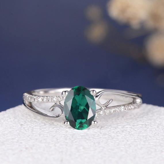 18K Lab Emerald Ring Oval Cut Engagement Ring Unique Curved Women Butterfly Diamond Ring May Birthstone Twig White Gold Antique Vine Ring DJ533