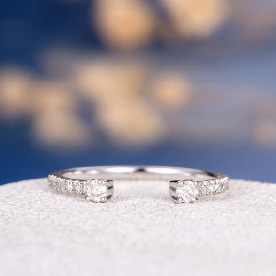 18K Open Eternity Band Wedding Band Woman White Gold Stacking Conflict Free Diamond Cuff Ring Wedding Bridal Ring Set Matching Unique Minimalist
