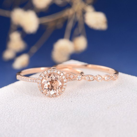 18k Morganite Ring Set Rose Gold Engagement Ring Diamond Halo Wedding Band Women Art Deco Bridal Sets Eternity Stacking Anniversary Promise 2pcs