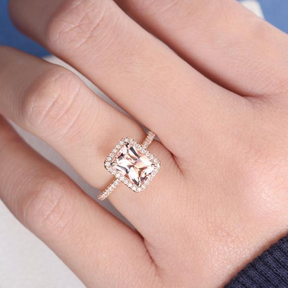 14K Gold Radiant Cut 6x8mm Morganite Engagement Ring