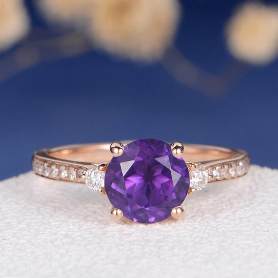 18K Amethyst Engagement Ring Rose Gold Amethyst Ring Wedding Diamond 3 Stone Unique Anniversary Family Ring Graduation Gift February Birthstone DJ554