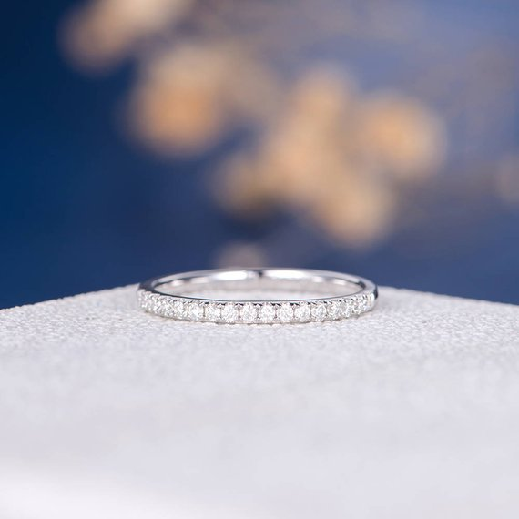 18K Moissanite Wedding Band Women White Gold Half Eternity Dainty Antique Unique Bridal Thin Matching Stackable Stacking Pave Dainty Gift DJ276
