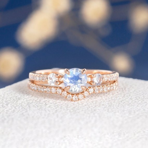 18K Moonstone Engagement Ring Set Unique Diamond Rose Gold Ring White Sapphire Antique Three Stone Bridal Anniversary Retro Birthstone Ring 2pcs DJ578