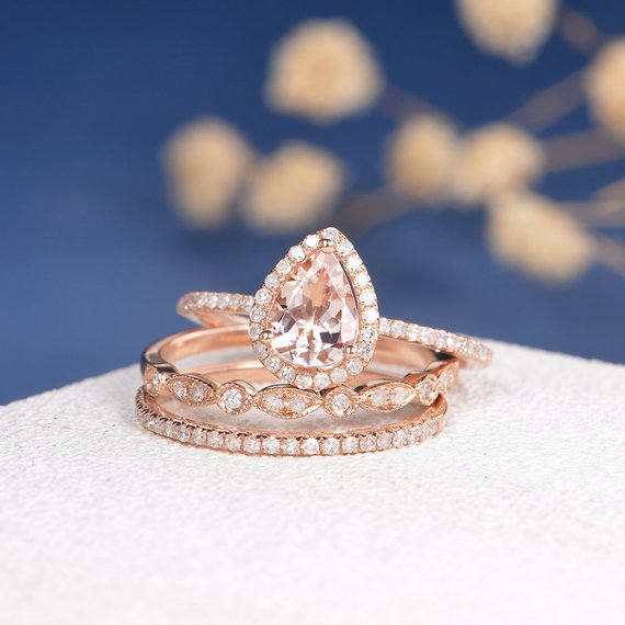 515d1121537 18k Pear Shaped Engagement Ring Set Rose Gold Morganite Ring Art Deco Wedding  Band Women HALF