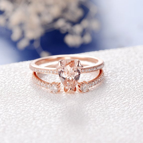 18k Pear Shaped Morganite Engagement Ring Rose Gold Unique Diamond Alternative Wedding Band Women Bridal Set Promise Diamond Infinity Eternity
