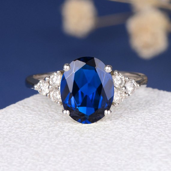 18K Lab Sapphire Engagement Ring White Gold Cluster Diamond Antique Lab Sapphire Birthstone Bridal Anniversary Promise Birthday Wedding Oval Cut DJ462