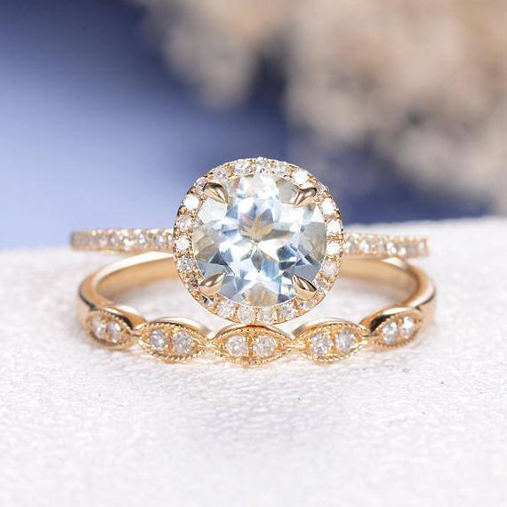 18K Halo Aquamarine Engagement Ring Bridal Set Yellow Gold Birthstone Wedding Ring Set Anniversary Diamond Pave Eternity Band Marquise Ring 2pcs DJ351