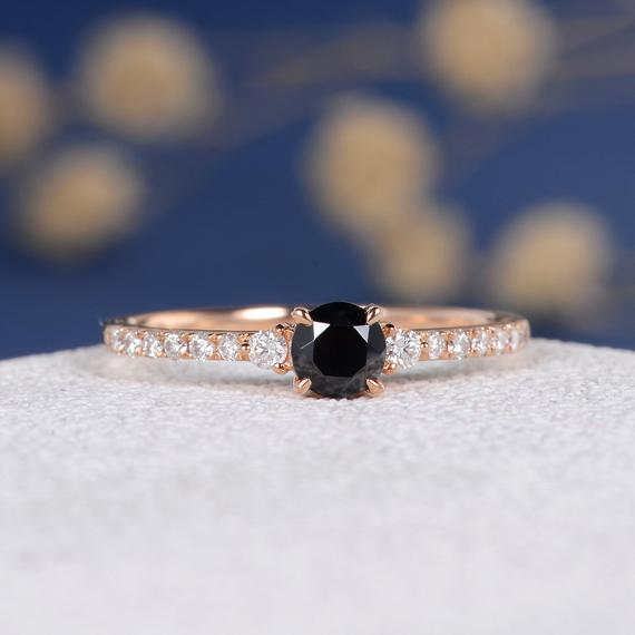 18K Black Cubic Zircon Engagement Ring Rose Gold CZ Ring Diamond Family Three Stones Ring Antique Retro Women Bridal Wedding Birthstone Custom DJ596