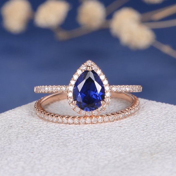 18K Pear Shaped Lab Sapphire Bridal Set Rose Gold Engagement Ring September Birthstone Diamond Wedding Band Full Eternity Gift Women Antique DJ500